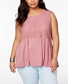 Eyeshadow Trendy Plus Size Lace Peplum Top