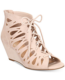 Material Girl Harlie Lace Up Wedge Sandals, Created for Macy's