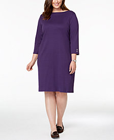 Karen Scott Plus Size Button-Embellished Cotton Dress, Created for Macy's