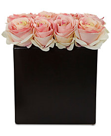 Nearly Natural Light Pink Rose Artificial Arrangement in Black Vase