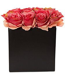 Nearly Natural Dark Pink Rose Artificial Arrangement in Black Vase