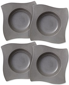 New Wave Stone Set of 4 Rimmed Soup Bowls