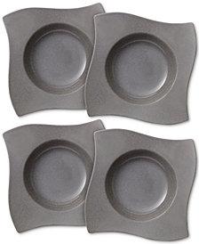 Villeroy & Boch New Wave Stone Set of 4 Rimmed Soup Bowls