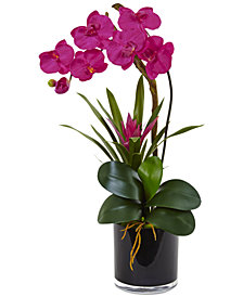 Nearly Natural Dark Pink Orchid & Bromeliad Artificial Arrangement in Glossy Black Cylinder Vase