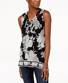 I.N.C. Printed Lace-Up Tank Top, Created for Macy's