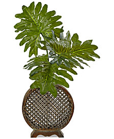 Nearly Natural Selloum Artificial Arrangement in Open Weave Vase