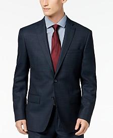 DKNY Men's Slim-Fit Blue/Tan Windowpane Suit Jacket