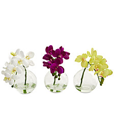 Nearly Natural 9'' Phalaenopsis Orchid Artificial Arrangement in Glass Vase, Set of 3