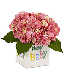 Nearly Natural Pink Hydrangea Artificial Arrangement in New Baby Ceramic Planter