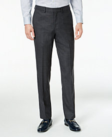 DKNY Men's Slim-Fit Gray/Blue Plaid Suit Pants