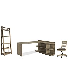 Ridgeway Home Office 4-Pc. Set (Return Desk, Peninsula USB Outlet Bookcase, Slat Back Desk Chair, & Leaning Bookcase)