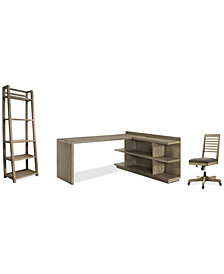 Ridgeway Home Office Furniture, 4-Pc. Set (Return Desk, Peninsula USB Outlet Bookcase, Slat Back Desk Chair, & Leaning Bookcase)