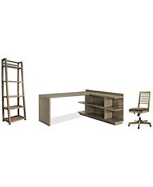 Ridgeway Home Office Furniture, 4-Pc. Set (Return Desk, Peninsula USB Outlet Bookcase, Slat Back Desk Chair, & Leaning Bookcase)