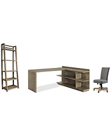 Ridgeway Home Office Furniture, 4-Pc. Set (Return Desk, Peninsula USB Outlet Bookcase, Upholstered Desk Chair, & Leaning Bookcase)
