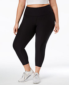 Nike Plus Size Dri-FIT Mesh-Inset High-Rise Cropped Leggings