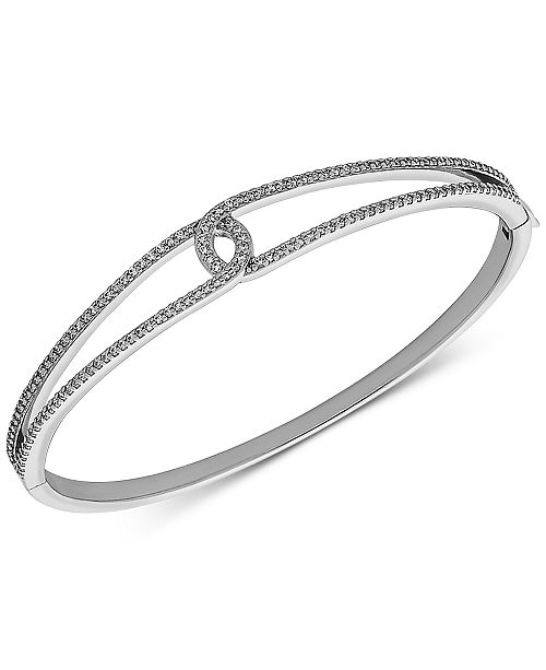 Arabella Swarovski Zirconia Loop Bangle Bracelet in Sterling Silver