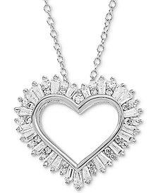 "Arabella Swarovski Zirconia Heart 18"" Pendant Necklace in Sterling Silver"