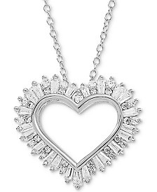 "Arabella Swarovski Zirconia Heart 18"" Pendant Necklace in Sterling Silver"
