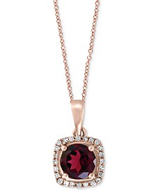 "EFFY® Rhodolite (1 ct. t.w.) & Diamond Accent Halo 18"" Pendant Necklace in 14k Rose Gold"