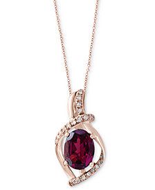 "EFFY® Rhodolite (1-1/2 ct. t.w.) & Diamond (1/10 ct. t.w.) 18"" Pendant Necklace in 14k Rose Gold"