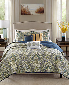Madison Park Cameron Reversible 6-Pc. Full/Queen Quilted Charmeuse Coverlet Set