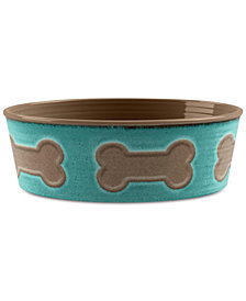 TarHong Bone Emboss Teal Large Pet Bowl
