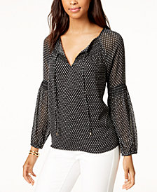 Tommy Hilfiger Printed Peasant Blouse, Created for Macy's