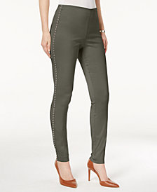 I.N.C. Studded Pull-On Skinny Pants, Created for Macy's