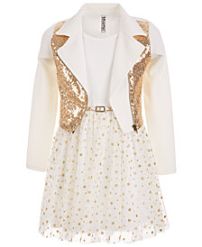 Beautees Big Girls 2-Pc. Sequin Moto Jacket & Glitter Dot-Print Dress