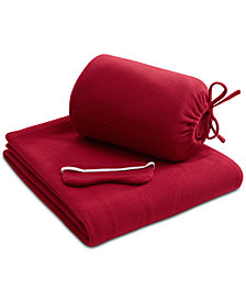 Intelligent Design Microfleece Twin/Twin XL Travel Blanket with Eye Mask