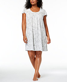 Charter Club Plus Size Floral-Print Nightgown, Created for Macy's