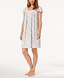 Charter Club Flutter-Sleeve Floral-Print Nightgown, Created for Macy's