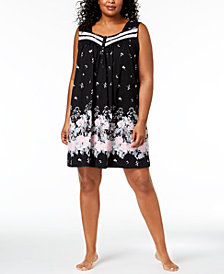 Charter Club Plus Size Sleeveless Cotton Nightgown, Created for Macy's