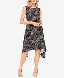 Vince Camuto Printed Handkerchief-Hem Dress