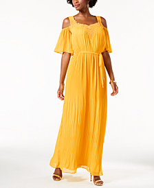 Sangria Cold-Shoulder Maxi Dress