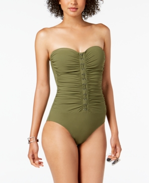 395323390f Profile By Gottex Moto Ruched Bandeau One-Piece Swimsuit In Olive ...