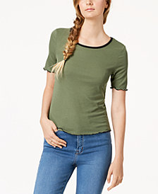 Almost Famous Juniors' Colorblocked Lettuce-Edge T-Shirt