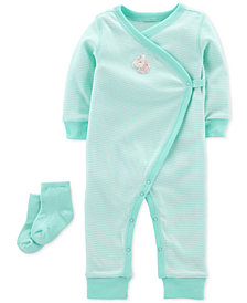 Carter's Baby Girls Cotton Kimono Jumpsuit & Socks Set