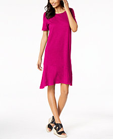 Eileen Fisher Hemp Organic Cotton Asymmetrical-Hem Dress