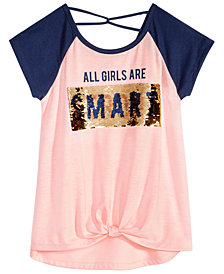 Beautees Big Girls Front-Knot Reversible Sequin T-Shirt