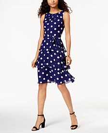 Jessica Howard Petite Tiered Polka-Dot Dress