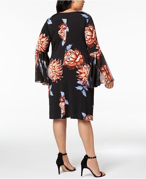 Plus Sleeve Bell Floral Black MSK Rust Print Dress Size 6qdOExxwZ