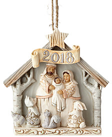 Jim Shore Woodland Dated 2018 Nativity Ornament