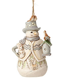 Jim Shore Woodland Snowman with Birdhouse Ornament