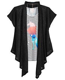 Belle Du Jour Big Girls 3-Pc. Tie-Back Cardigan, Tank Top & Necklace Set