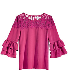 Beautees Big Girls Lace Peasant Top