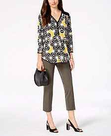 Alfani Printed Top & Cropped Pants, Created for Macy's