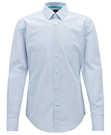 BOSS Men's Slim-Fit Micro-Check Cotton Shirt