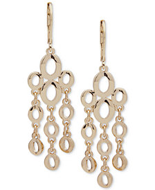 Anne Klein Gold-Tone Oval Link Chandelier Earrings