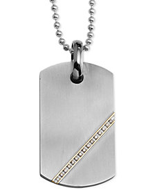 Men's Diamond Dog Tag Pendant Necklace (1/6 ct. t.w.) in Stainless Steel & 14k Gold